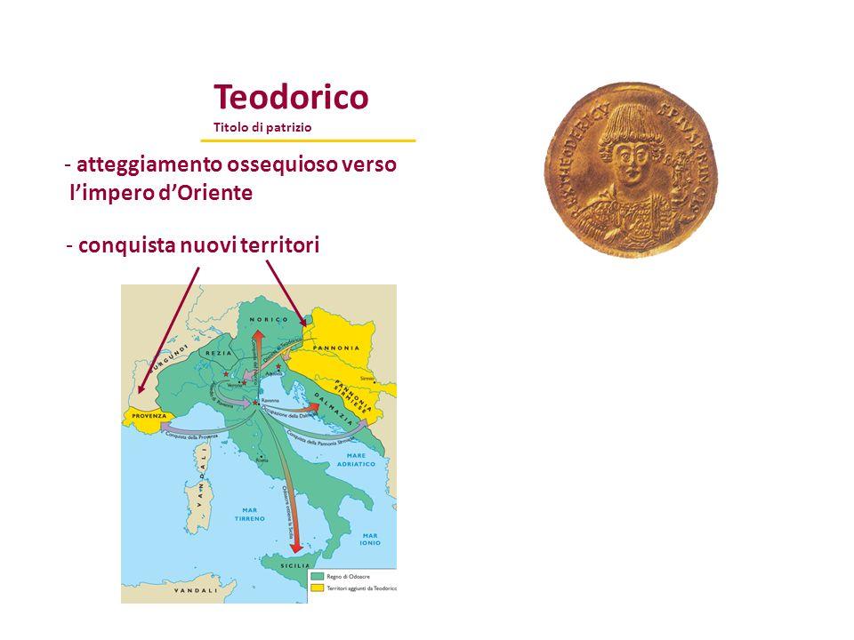 Teodorico Titolo di patrizio - atteggiamento ossequioso verso limpero dOriente - conquista nuovi territori