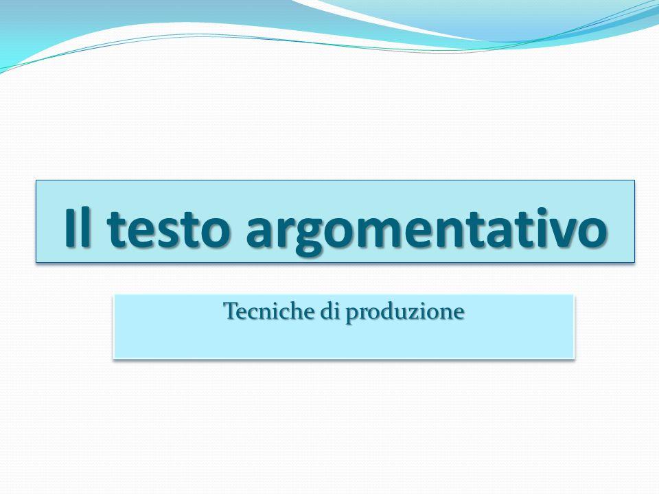 Il testo argomentativo Tecniche di produzione