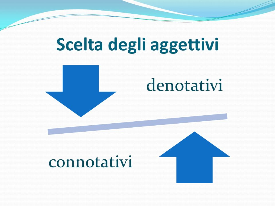 Scelta degli aggettivi denotativi connotativi
