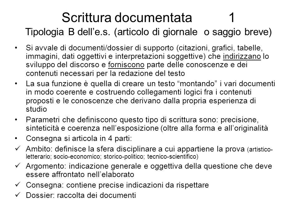 Scrittura documentata 1 Tipologia B delle.s. (articolo di giornale o saggio breve) Si avvale di documenti/dossier di supporto (citazioni, grafici, tab
