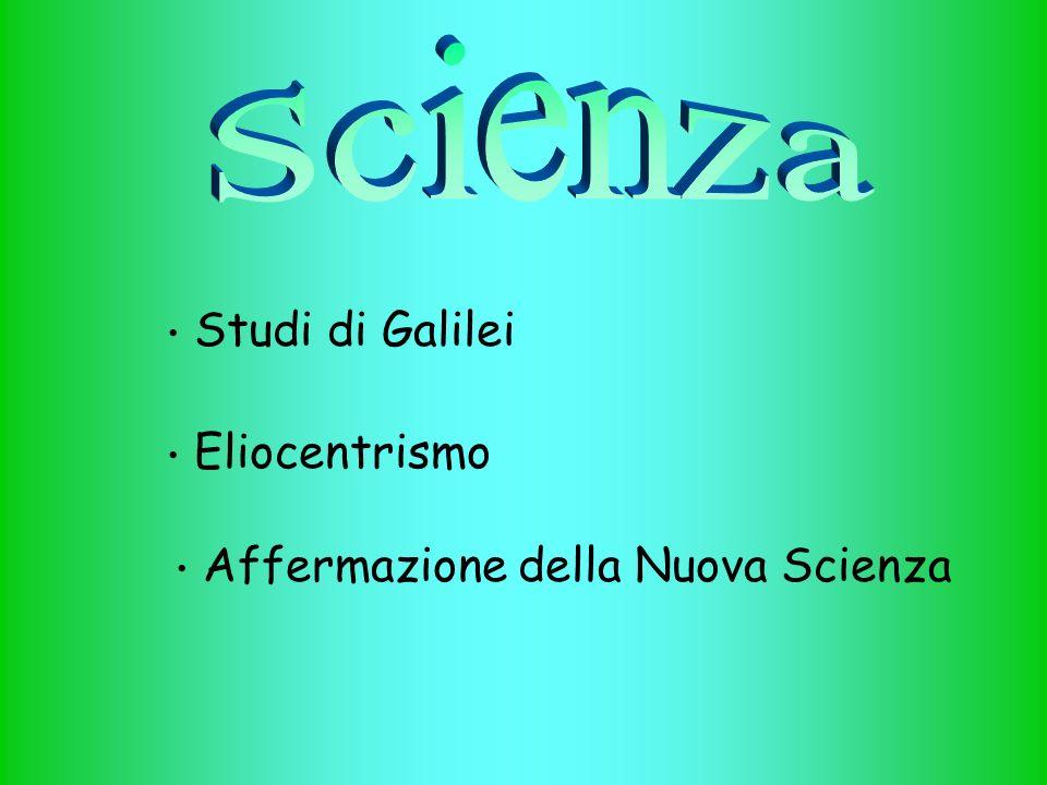 Affermazione della Nuova Scienza Studi di Galilei Eliocentrismo
