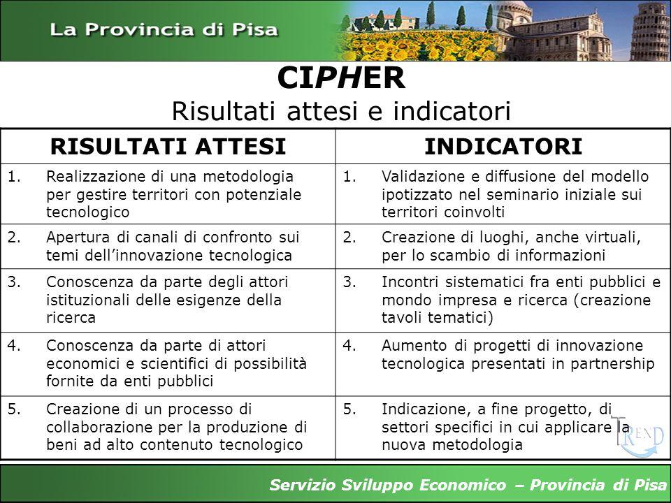 CIPHER Risultati attesi e indicatori Servizio Sviluppo Economico – Provincia di Pisa RISULTATI ATTESIINDICATORI 1.Realizzazione di una metodologia per