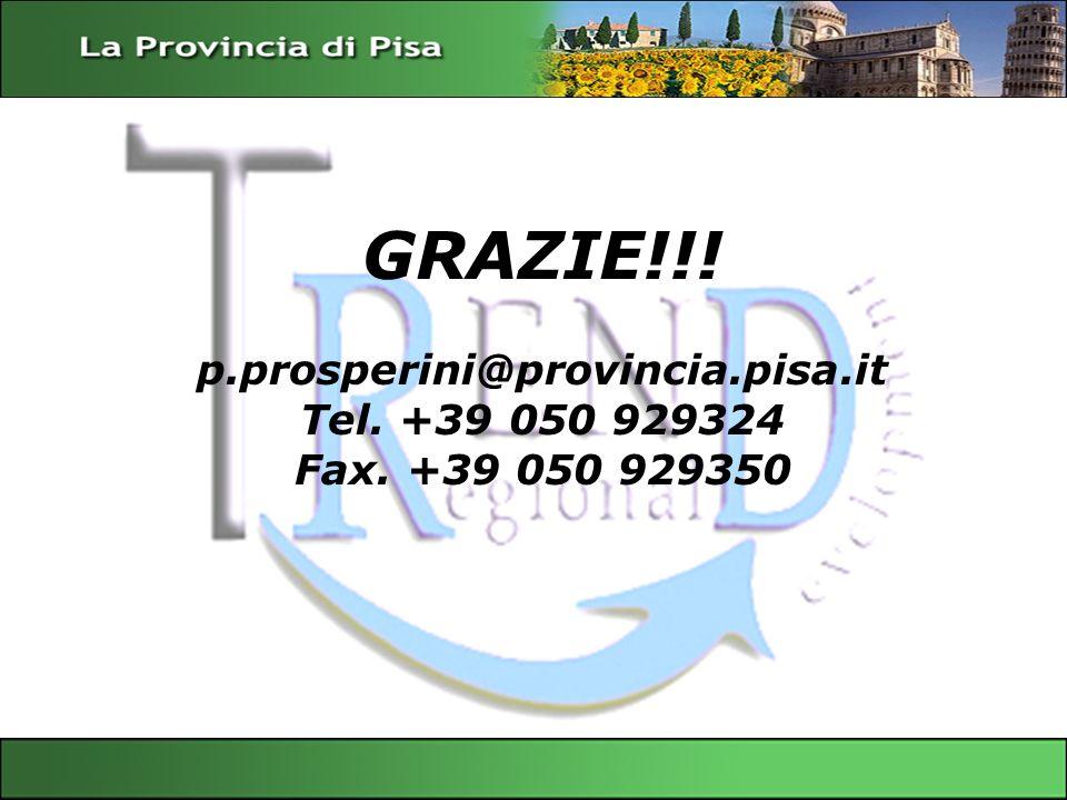 GRAZIE!!! p.prosperini@provincia.pisa.it Tel. +39 050 929324 Fax. +39 050 929350 Servizio Sviluppo Economico – Provincia di Pisa Gianfrancesco Sangiov