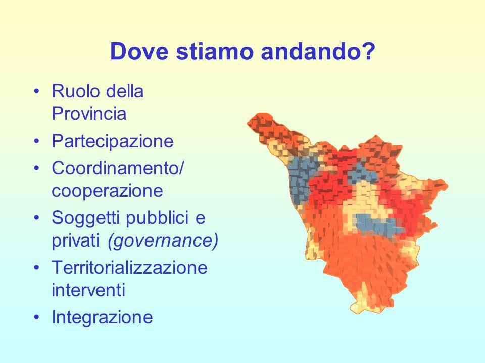 Dove stiamo andando? Ruolo della Provincia Partecipazione Coordinamento/ cooperazione Soggetti pubblici e privati (governance) Territorializzazione in