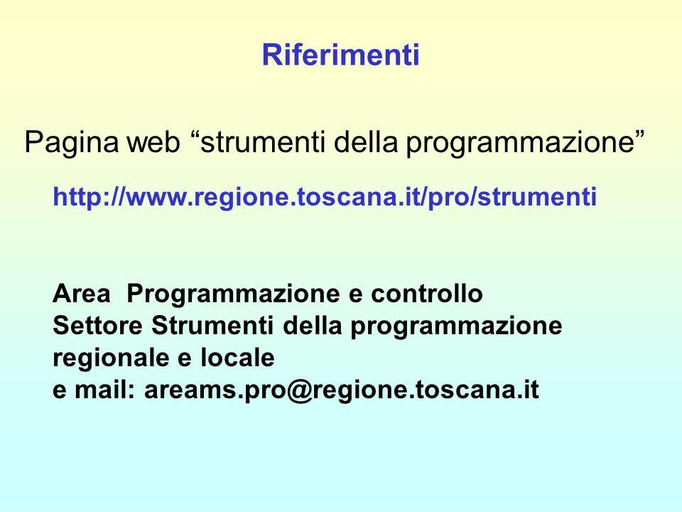 Riferimenti Pagina web strumenti della programmazione http://www.regione.toscana.it/pro/strumenti Area Programmazione e controllo Settore Strumenti della programmazione regionale e locale e mail: areams.pro@regione.toscana.it