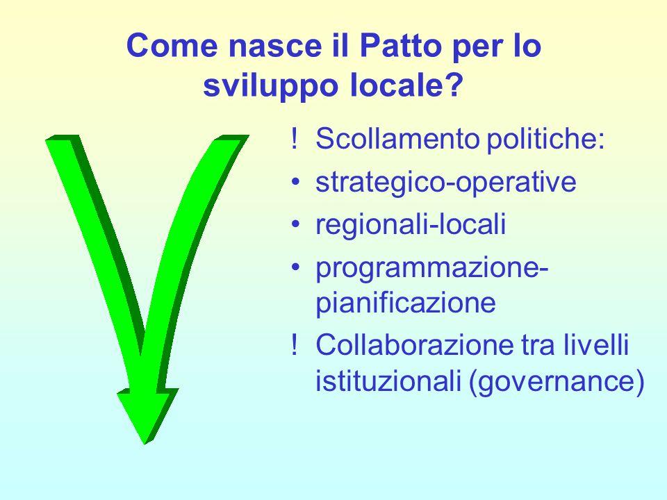 Come nasce il Patto per lo sviluppo locale? !Scollamento politiche: strategico-operative regionali-locali programmazione- pianificazione !Collaborazio