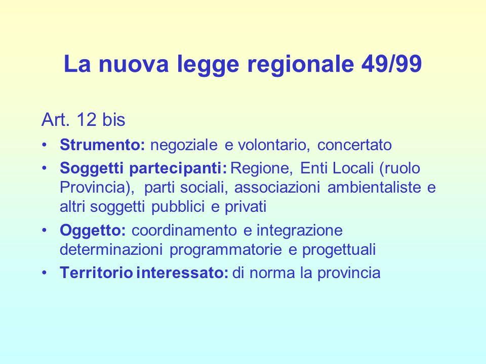 La nuova legge regionale 49/99 Art. 12 bis Strumento: negoziale e volontario, concertato Soggetti partecipanti: Regione, Enti Locali (ruolo Provincia)