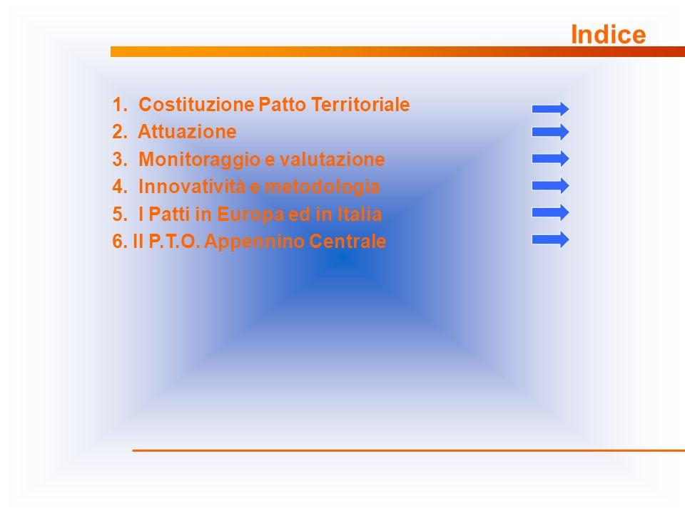 Indice 1. Costituzione Patto Territoriale 2. Attuazione 3. Monitoraggio e valutazione 4. Innovatività e metodologia 5. I Patti in Europa ed in Italia