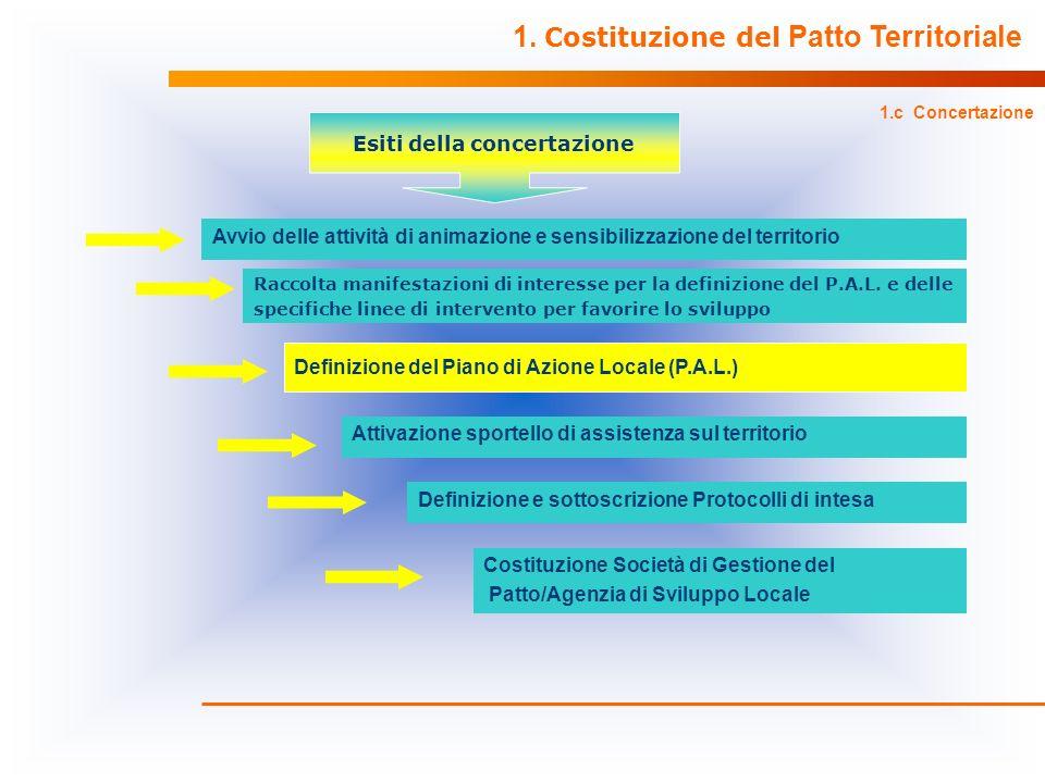 Definizione del Piano di Azione Locale (P.A.L.) Definizione e sottoscrizione Protocolli di intesa 1. Costituzione del Patto Territoriale 1.c Concertaz