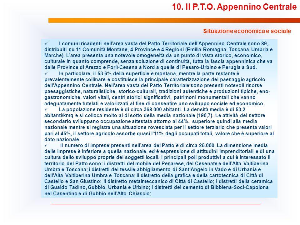 10. Il P.T.O. Appennino Centrale Situazione economica e sociale I comuni ricadenti nellarea vasta del Patto Territoriale dellAppennino Centrale sono 8