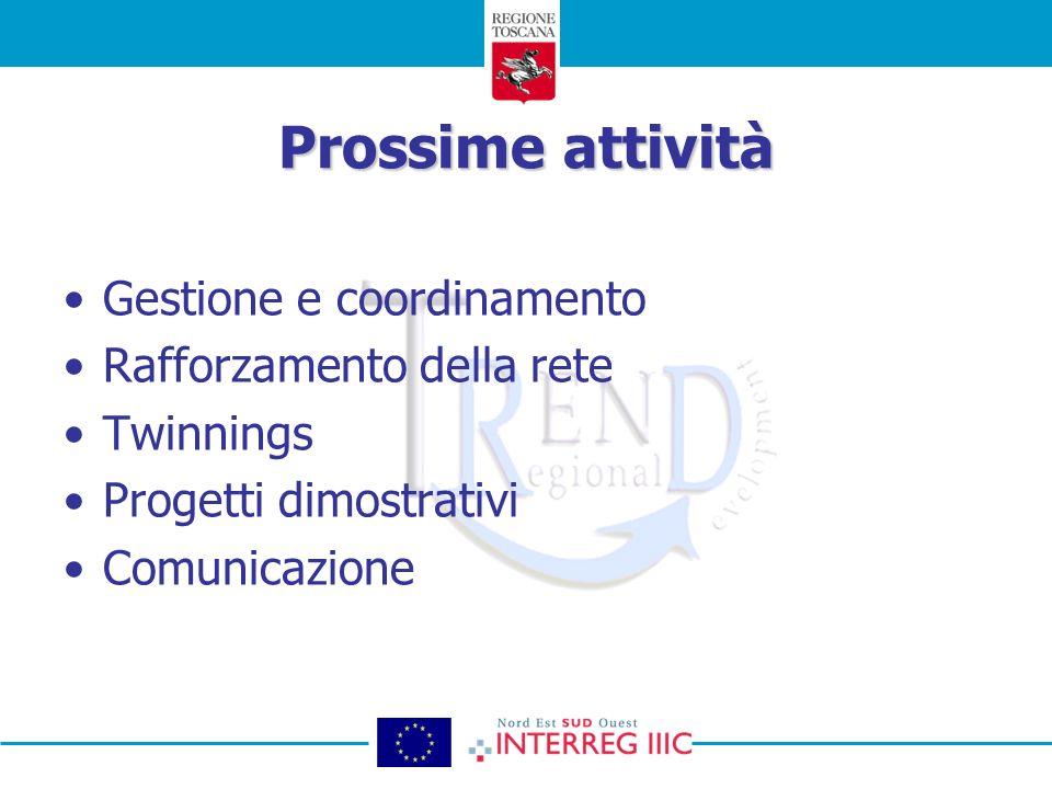 Prossime attività Gestione e coordinamento Rafforzamento della rete Twinnings Progetti dimostrativi Comunicazione