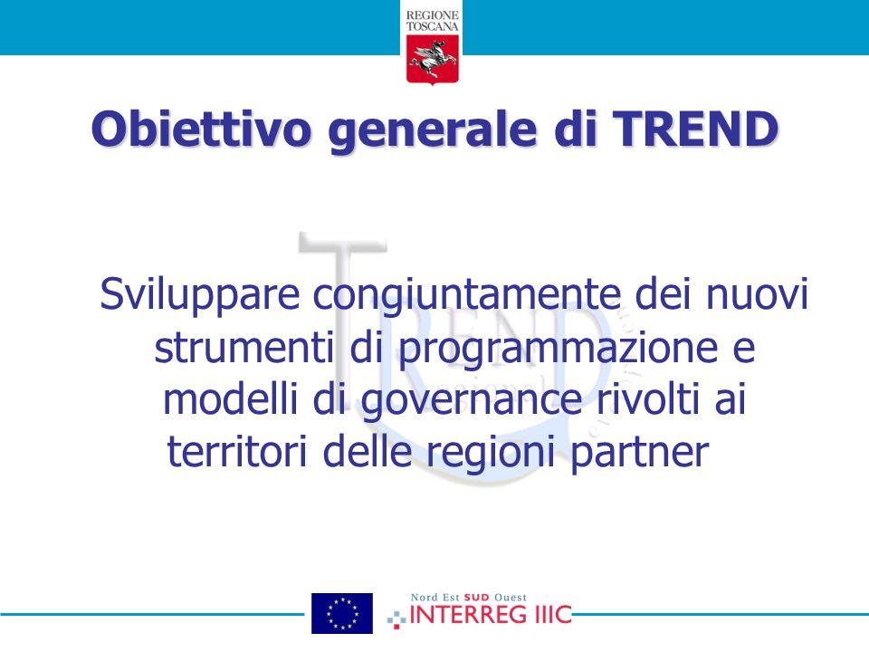 Obiettivo generale di TREND Sviluppare congiuntamente dei nuovi strumenti di programmazione e modelli di governance rivolti ai territori delle regioni partner