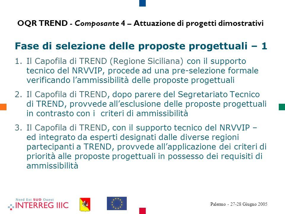 Palermo - 27-28 Giugno 2005 Fase di selezione delle proposte progettuali – 1 1.Il Capofila di TREND (Regione Siciliana) con il supporto tecnico del NRVVIP, procede ad una pre-selezione formale verificando lammissibilità delle proposte progettuali 2.Il Capofila di TREND, dopo parere del Segretariato Tecnico di TREND, provvede allesclusione delle proposte progettuali in contrasto con i criteri di ammissibilità 3.Il Capofila di TREND, con il supporto tecnico del NRVVIP – ed integrato da esperti designati dalle diverse regioni partecipanti a TREND, provvede allapplicazione dei criteri di priorità alle proposte progettuali in possesso dei requisiti di ammissibilità OQR TREND - Composante 4 – Attuazione di progetti dimostrativi