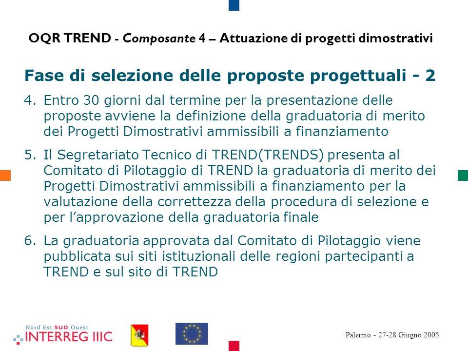 Palermo - 27-28 Giugno 2005 Fase di selezione delle proposte progettuali - 2 4.Entro 30 giorni dal termine per la presentazione delle proposte avviene la definizione della graduatoria di merito dei Progetti Dimostrativi ammissibili a finanziamento 5.Il Segretariato Tecnico di TREND(TRENDS) presenta al Comitato di Pilotaggio di TREND la graduatoria di merito dei Progetti Dimostrativi ammissibili a finanziamento per la valutazione della correttezza della procedura di selezione e per lapprovazione della graduatoria finale 6.La graduatoria approvata dal Comitato di Pilotaggio viene pubblicata sui siti istituzionali delle regioni partecipanti a TREND e sul sito di TREND OQR TREND - Composante 4 – Attuazione di progetti dimostrativi