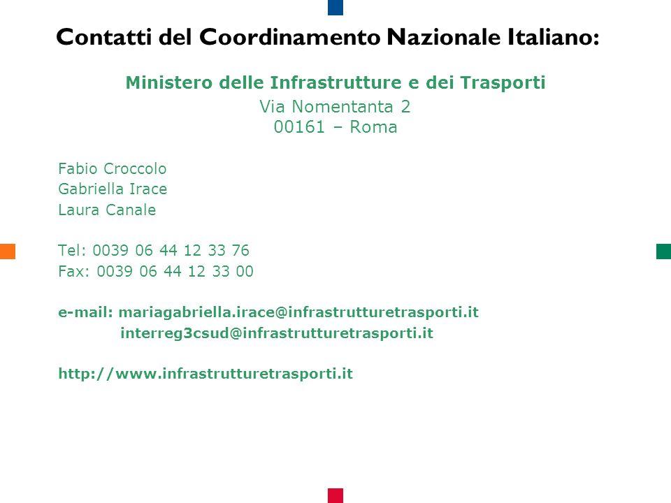Contatti del Coordinamento Nazionale Italiano: Ministero delle Infrastrutture e dei Trasporti Via Nomentanta 2 00161 – Roma Fabio Croccolo Gabriella Irace Laura Canale Tel: 0039 06 44 12 33 76 Fax: 0039 06 44 12 33 00 e-mail: mariagabriella.irace@infrastrutturetrasporti.it interreg3csud@infrastrutturetrasporti.it http://www.infrastrutturetrasporti.it