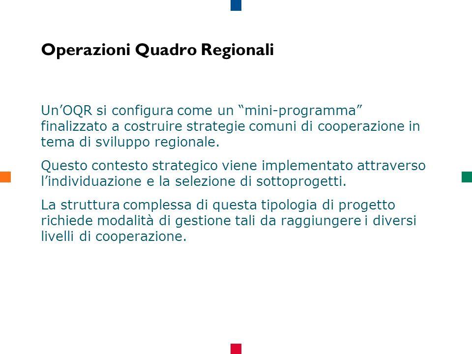 Operazioni Quadro Regionali UnOQR si configura come un mini-programma finalizzato a costruire strategie comuni di cooperazione in tema di sviluppo regionale.
