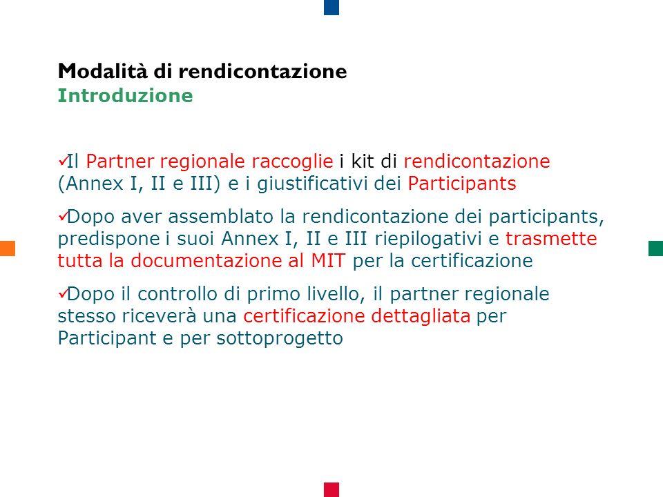 Modalità di rendicontazione Introduzione Il Partner regionale raccoglie i kit di rendicontazione (Annex I, II e III) e i giustificativi dei Participants Dopo aver assemblato la rendicontazione dei participants, predispone i suoi Annex I, II e III riepilogativi e trasmette tutta la documentazione al MIT per la certificazione Dopo il controllo di primo livello, il partner regionale stesso riceverà una certificazione dettagliata per Participant e per sottoprogetto