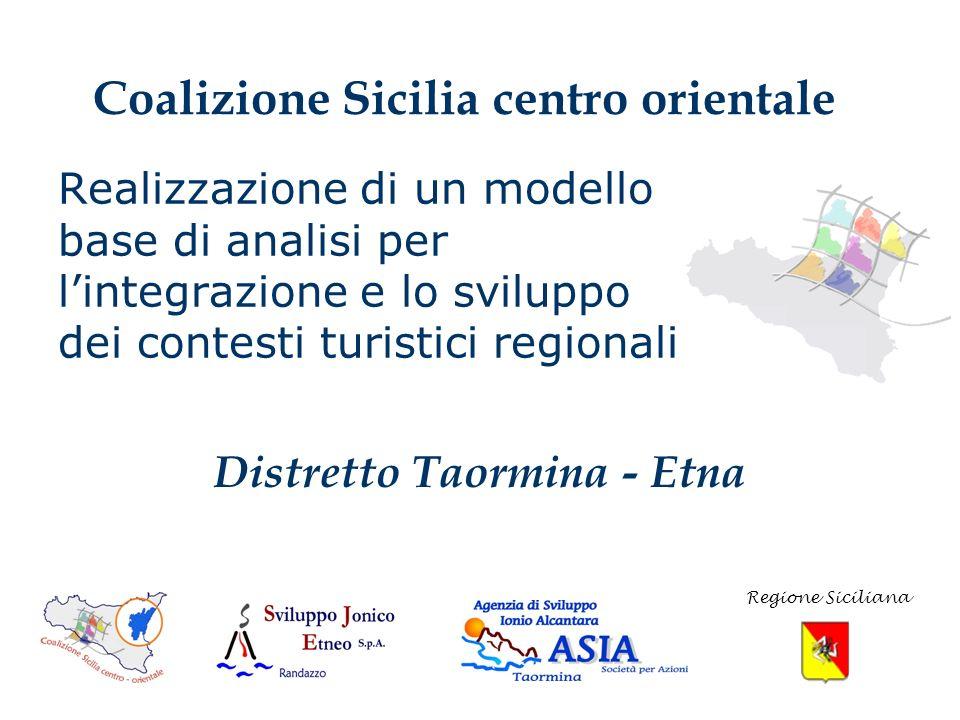 Realizzazione di un modello base di analisi per lintegrazione e lo sviluppo dei contesti turistici regionali Coalizione Sicilia centro orientale Regione Siciliana Distretto Taormina - Etna