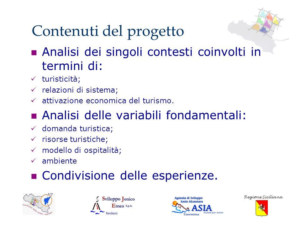 Contenuti del progetto Analisi dei singoli contesti coinvolti in termini di: turisticità; relazioni di sistema; attivazione economica del turismo.