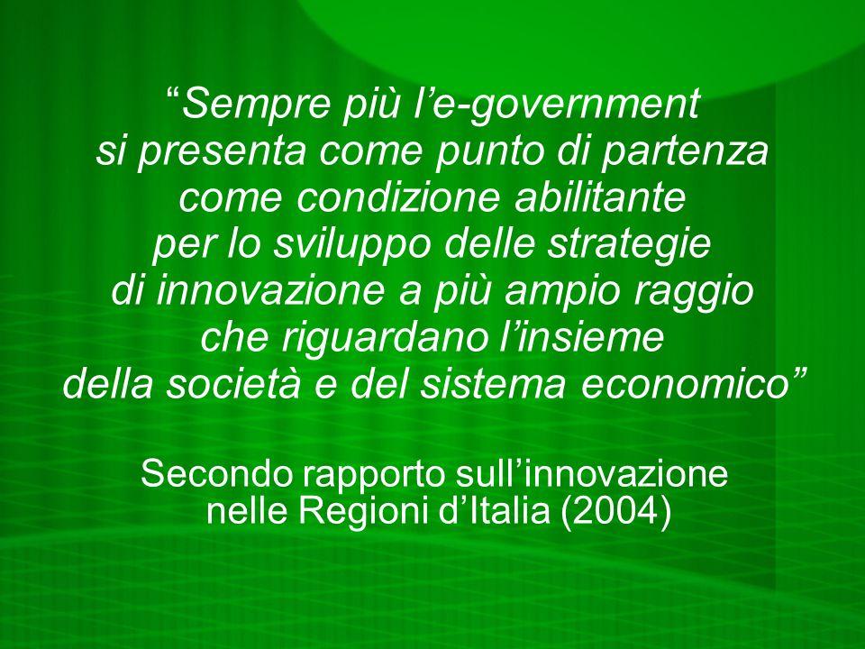 Sempre più le-government si presenta come punto di partenza come condizione abilitante per lo sviluppo delle strategie di innovazione a più ampio raggio che riguardano linsieme della società e del sistema economico Secondo rapporto sullinnovazione nelle Regioni dItalia (2004)