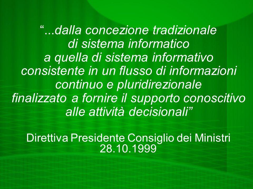 ...dalla concezione tradizionale di sistema informatico a quella di sistema informativo consistente in un flusso di informazioni continuo e pluridirezionale finalizzato a fornire il supporto conoscitivo alle attività decisionali Direttiva Presidente Consiglio dei Ministri 28.10.1999