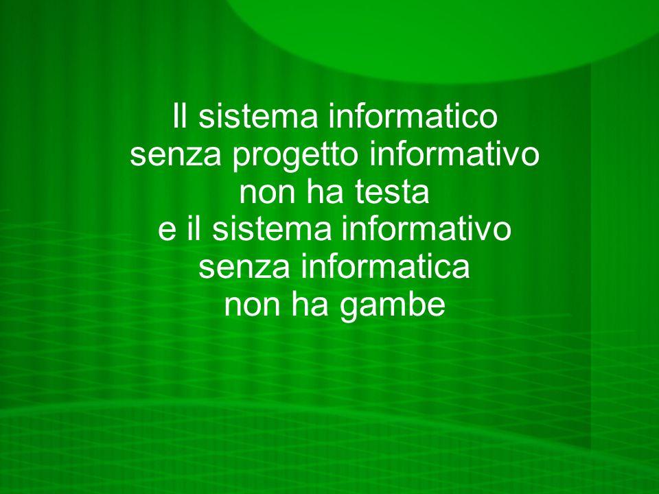 Il sistema informatico senza progetto informativo non ha testa e il sistema informativo senza informatica non ha gambe
