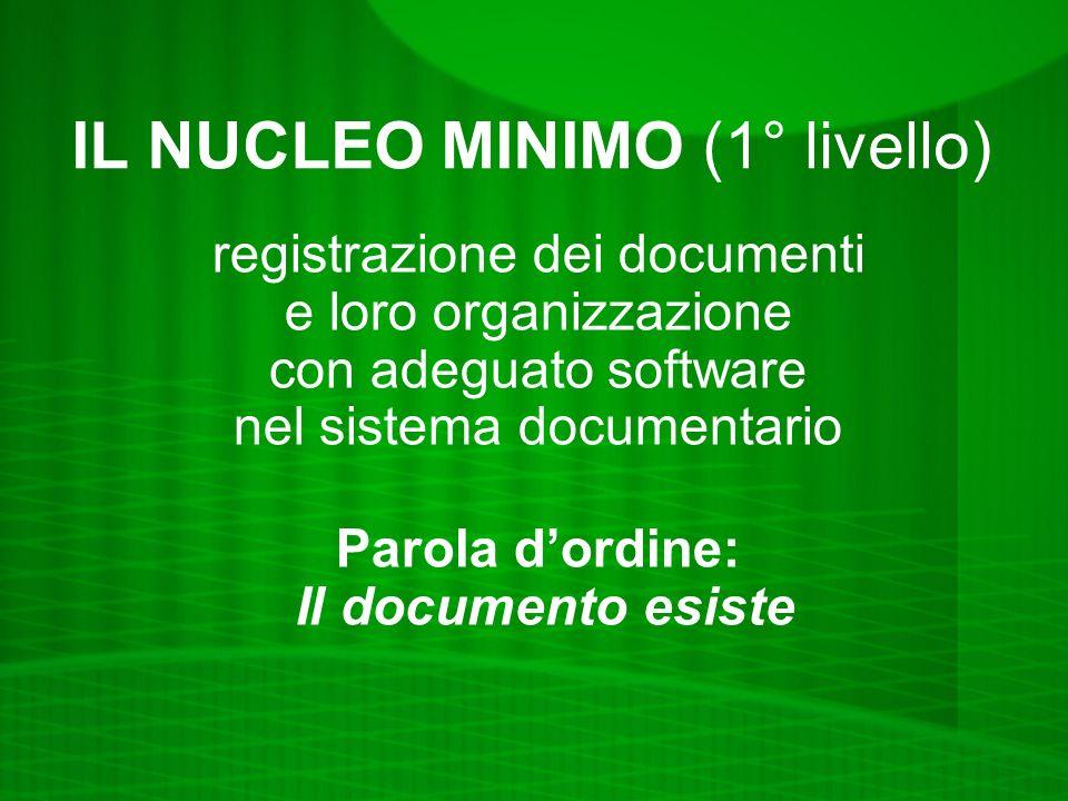 IL NUCLEO MINIMO (1° livello) registrazione dei documenti e loro organizzazione con adeguato software nel sistema documentario Parola dordine: Il documento esiste