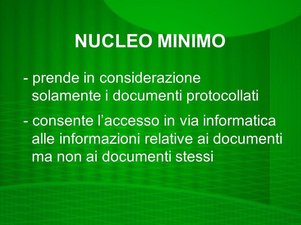 NUCLEO MINIMO - prende in considerazione solamente i documenti protocollati - consente laccesso in via informatica alle informazioni relative ai documenti ma non ai documenti stessi