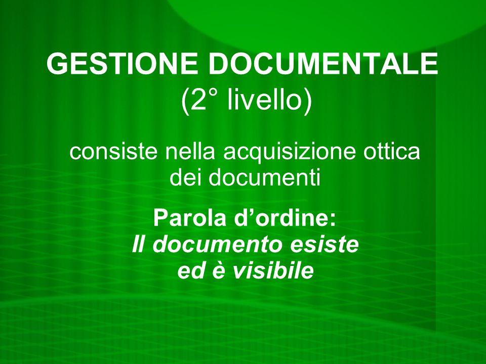 GESTIONE DOCUMENTALE (2° livello) consiste nella acquisizione ottica dei documenti Parola dordine: Il documento esiste ed è visibile