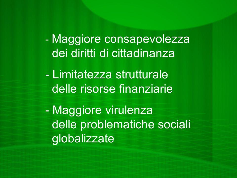 - Maggiore consapevolezza dei diritti di cittadinanza - Limitatezza strutturale delle risorse finanziarie - Maggiore virulenza delle problematiche sociali globalizzate