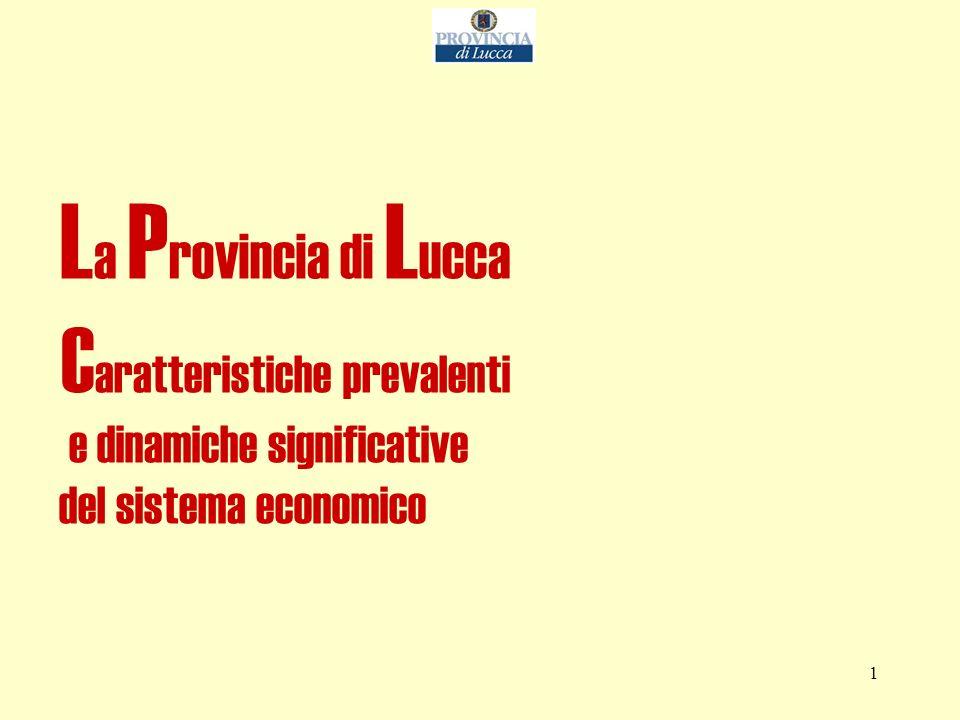 1 L a P rovincia di L ucca C aratteristiche prevalenti e dinamiche significative del sistema economico