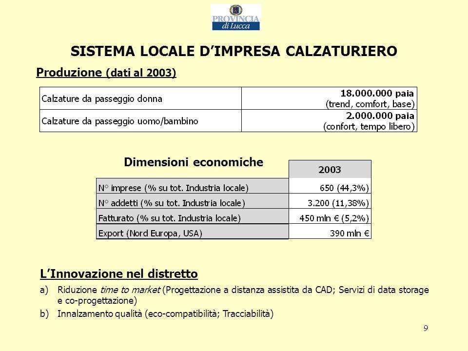 10 SISTEMA LOCALE DIMPRESA DELLA NAUTICA DA DIPORTO Produzione (dati al 2003) Dimensioni economiche