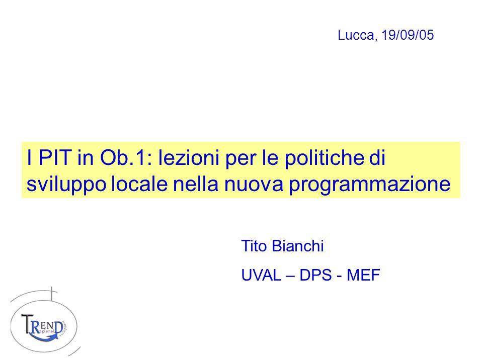 I PIT in Ob.1: lezioni per le politiche di sviluppo locale nella nuova programmazione Tito Bianchi UVAL – DPS - MEF Lucca, 19/09/05