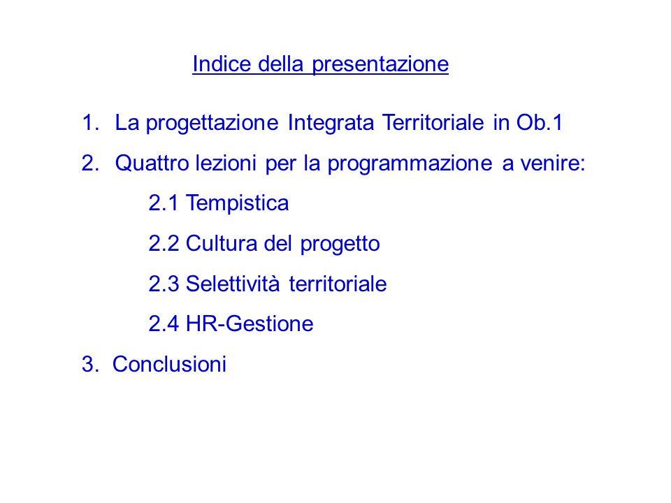 Indice della presentazione 1.La progettazione Integrata Territoriale in Ob.1 2.Quattro lezioni per la programmazione a venire: 2.1 Tempistica 2.2 Cultura del progetto 2.3 Selettività territoriale 2.4 HR-Gestione 3.