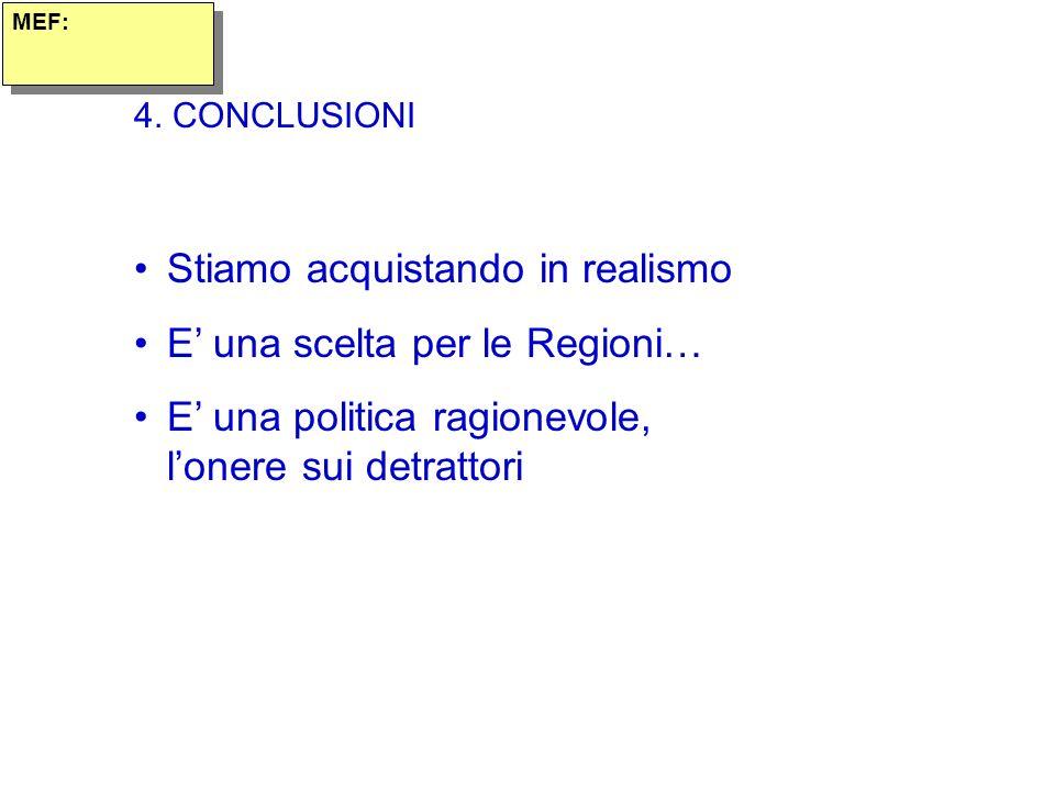 4. CONCLUSIONI Stiamo acquistando in realismo E una scelta per le Regioni… E una politica ragionevole, lonere sui detrattori MEF: