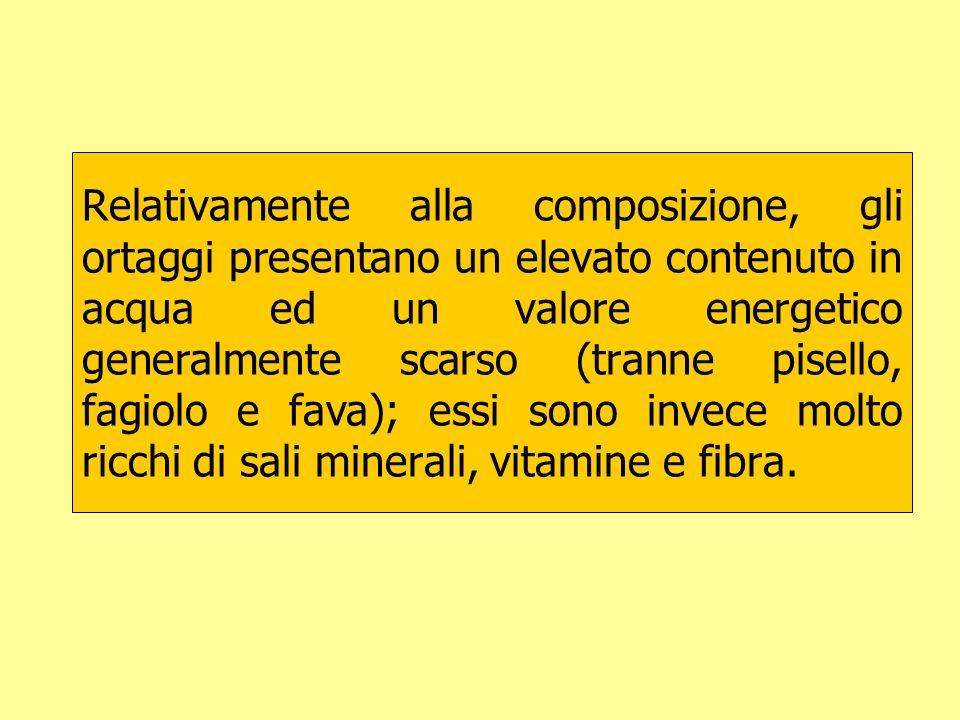 Relativamente alla composizione, gli ortaggi presentano un elevato contenuto in acqua ed un valore energetico generalmente scarso (tranne pisello, fag