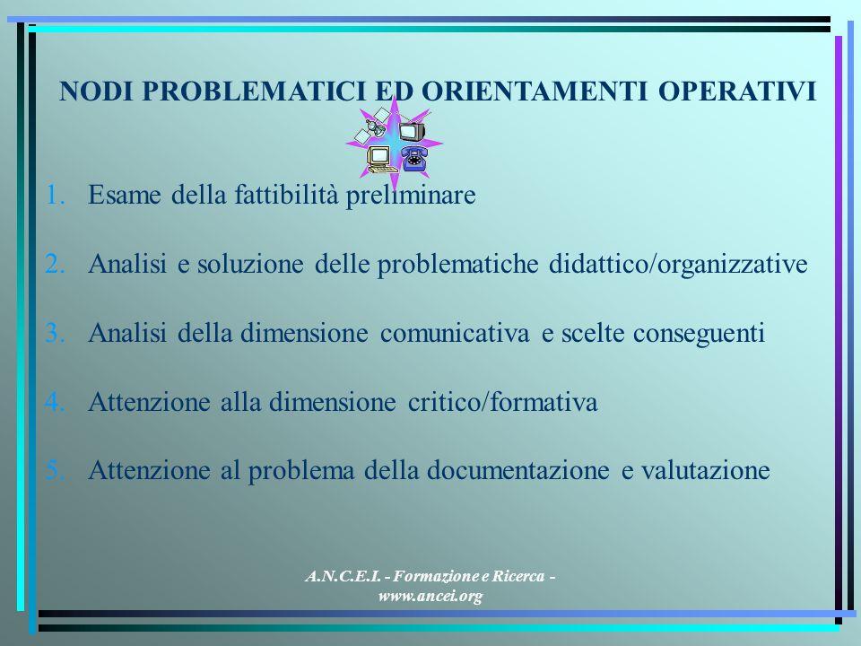 A.N.C.E.I. - Formazione e Ricerca - www.ancei.org NODI PROBLEMATICI ED ORIENTAMENTI OPERATIVI 1.Esame della fattibilità preliminare 2.Analisi e soluzi
