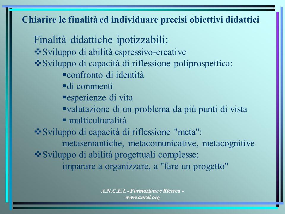 A.N.C.E.I. - Formazione e Ricerca - www.ancei.org Chiarire le finalità ed individuare precisi obiettivi didattici Finalità didattiche ipotizzabili: Sv