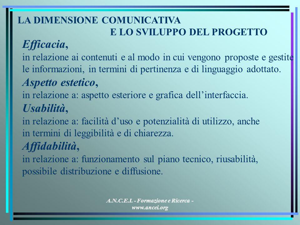 A.N.C.E.I. - Formazione e Ricerca - www.ancei.org Efficacia, in relazione ai contenuti e al modo in cui vengono proposte e gestite le informazioni, in