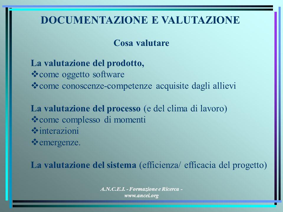 A.N.C.E.I. - Formazione e Ricerca - www.ancei.org DOCUMENTAZIONE E VALUTAZIONE La valutazione del prodotto, come oggetto software come conoscenze-comp