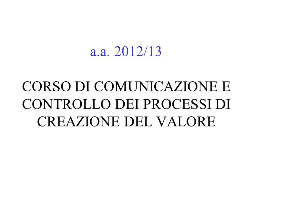 a.a. 2012/13 CORSO DI COMUNICAZIONE E CONTROLLO DEI PROCESSI DI CREAZIONE DEL VALORE