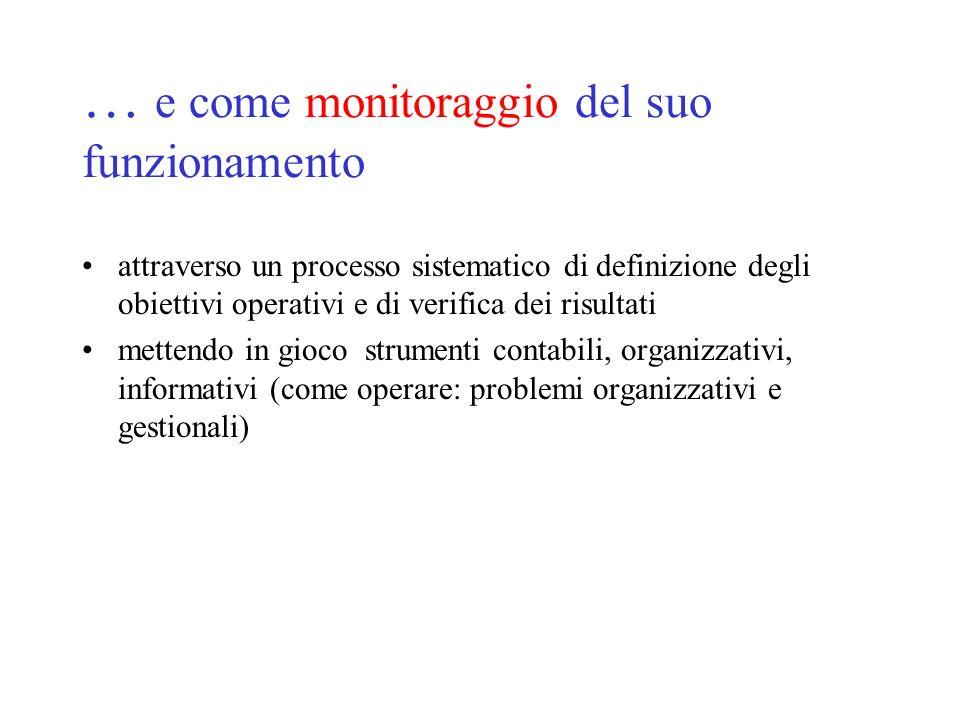 … e come monitoraggio del suo funzionamento attraverso un processo sistematico di definizione degli obiettivi operativi e di verifica dei risultati mettendo in gioco strumenti contabili, organizzativi, informativi (come operare: problemi organizzativi e gestionali)