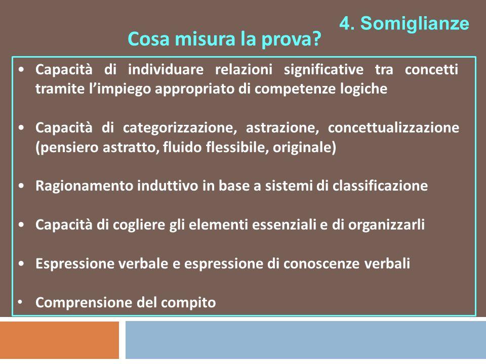 4. Somiglianze Cosa misura la prova? Capacità di individuare relazioni significative tra concetti tramite limpiego appropriato di competenze logiche C