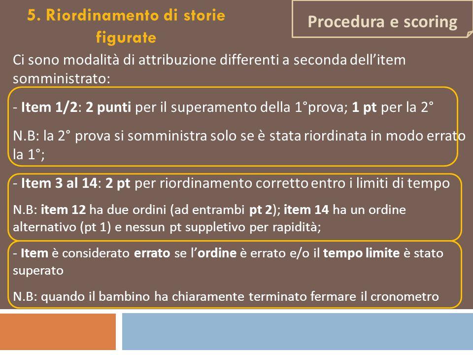 Ci sono modalità di attribuzione differenti a seconda dellitem somministrato: - Item 1/2: 2 punti per il superamento della 1°prova; 1 pt per la 2° N.B