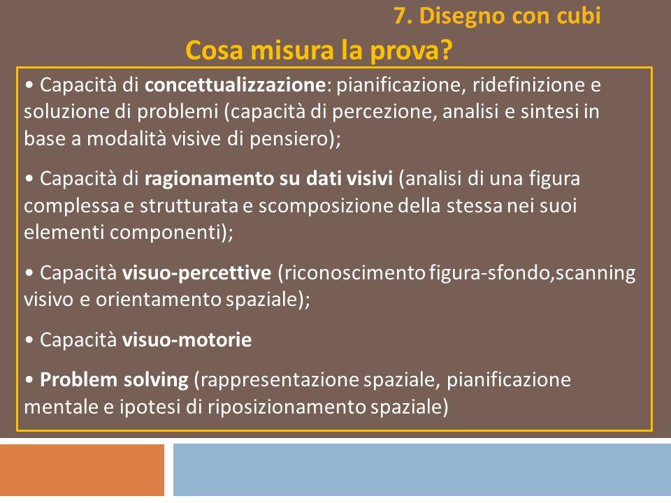 Cosa misura la prova? Capacità di concettualizzazione: pianificazione, ridefinizione e soluzione di problemi (capacità di percezione, analisi e sintes