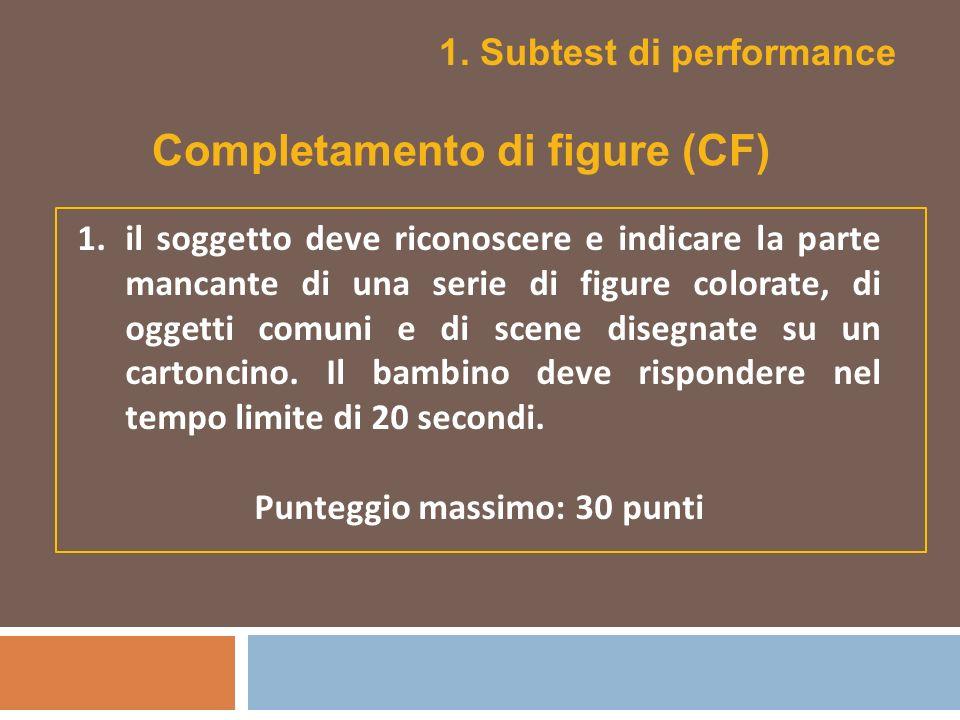 1. Subtest di performance 1.il soggetto deve riconoscere e indicare la parte mancante di una serie di figure colorate, di oggetti comuni e di scene di
