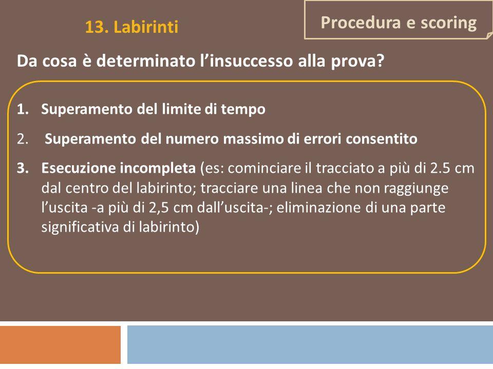 Procedura e scoring 13. Labirinti Da cosa è determinato linsuccesso alla prova? 1.Superamento del limite di tempo 2. Superamento del numero massimo di