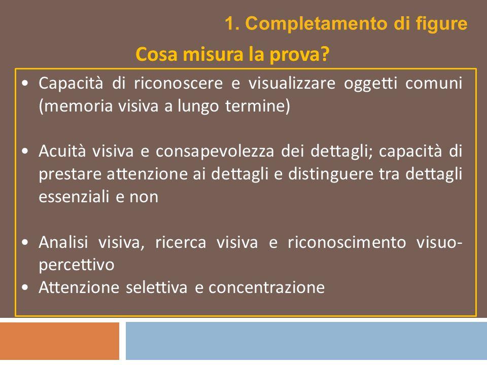 Capacità di riconoscere e visualizzare oggetti comuni (memoria visiva a lungo termine) Acuità visiva e consapevolezza dei dettagli; capacità di presta
