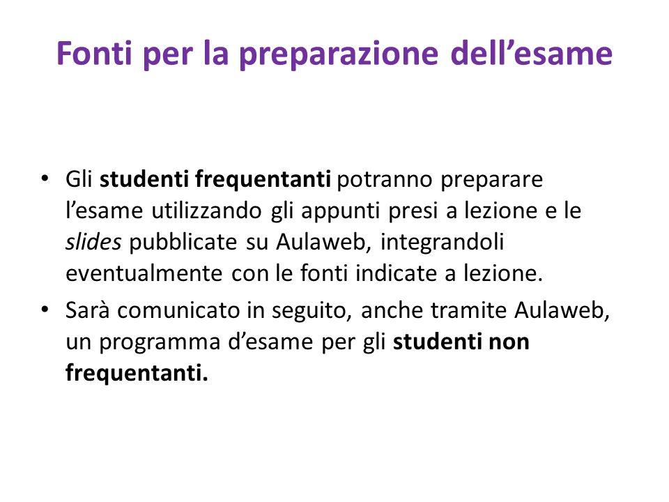 Fonti per la preparazione dellesame Gli studenti frequentanti potranno preparare lesame utilizzando gli appunti presi a lezione e le slides pubblicate su Aulaweb, integrandoli eventualmente con le fonti indicate a lezione.