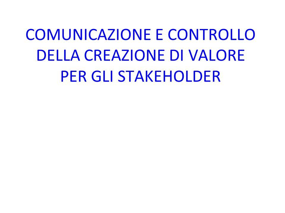 COMUNICAZIONE E CONTROLLO DELLA CREAZIONE DI VALORE PER GLI STAKEHOLDER
